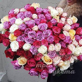 101 разноцветная роза (Premium) 60 см.